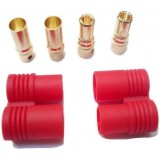 6mm Gold connector with red polarity protection